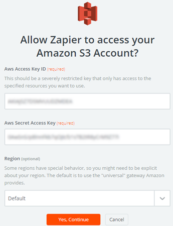 allow zapier to access amazon s3