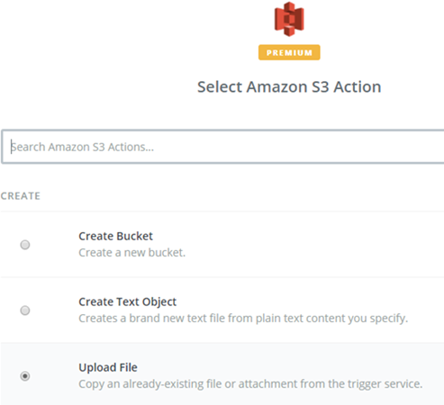 select amazon s3 action