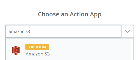 choose amazon s3 as action app