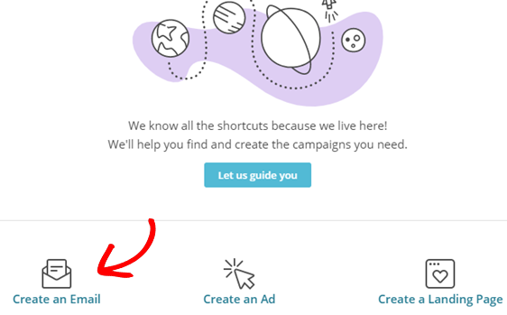 click create an email for wordpress rss mailchimp