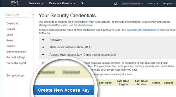 click create new access key