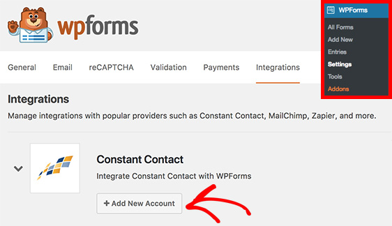 Constant contact in WPForms settings integrations
