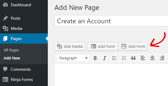 publish form on any page