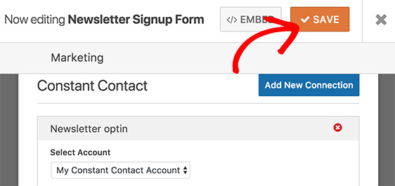 Save Constant Contact settings