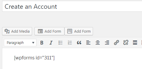 form is being added as shortcode