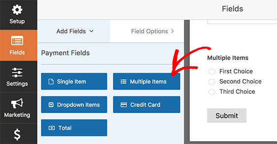 Multiple items field