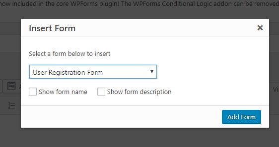 publish user registration form
