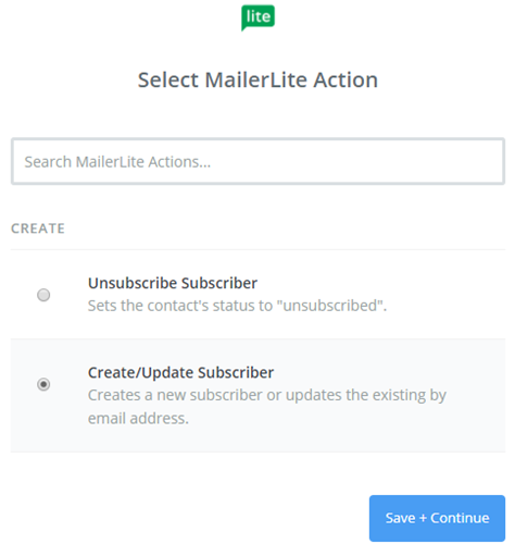 select mailerlite action