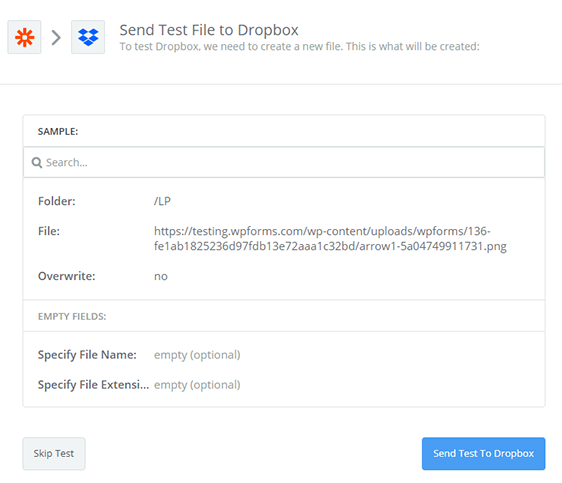 send test to Dropbox to add uploads to website