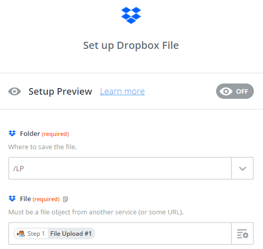 set up dropbox fields