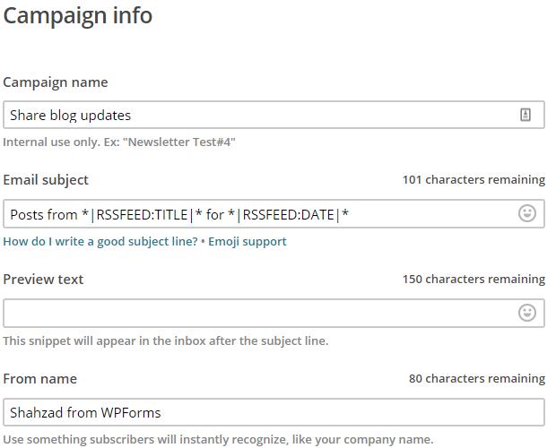 specify campaign info