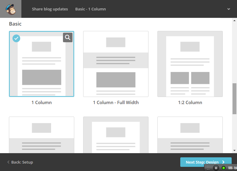 specify mailchimp rss feed template