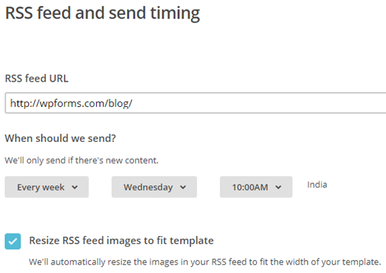 specify rss feed