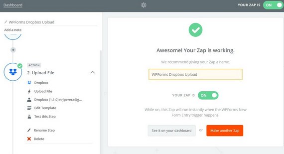 add dropbox to website with zapier and wpforms