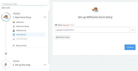 set up wpforms entry in zapier to send form uploads to google drive