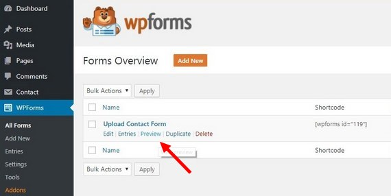 preview upload contact form