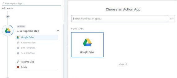 choose an action zap google drive