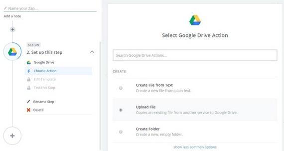 select wordpress upload to google drive action