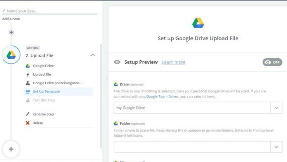 setup wordpress upload to google drive preview