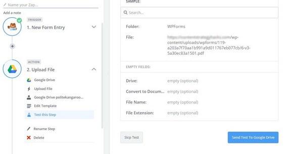 wordpress upload to google drive with zapier