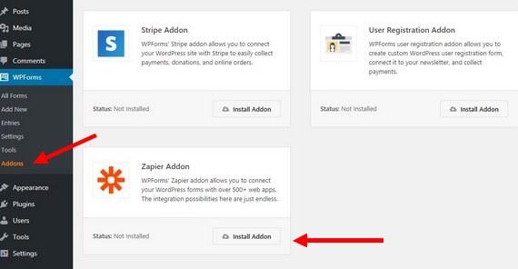 install wpforms addon to get wordpress upload to google drive