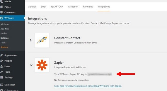 wordpress lets you use zapier to upload to google drive
