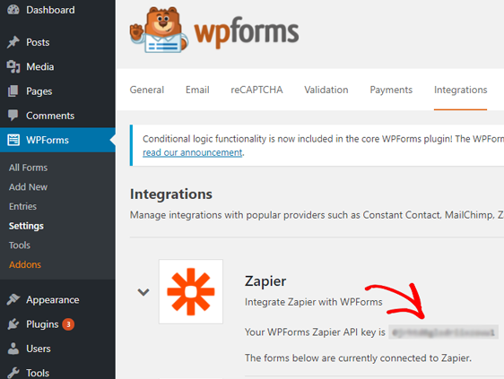 copy zapier api key
