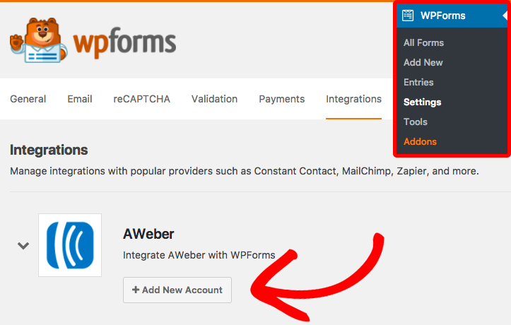 Add AWeber account to WPForms settings