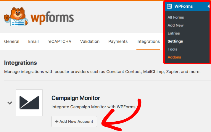 Add new account to Campaign Monitor in WPForms