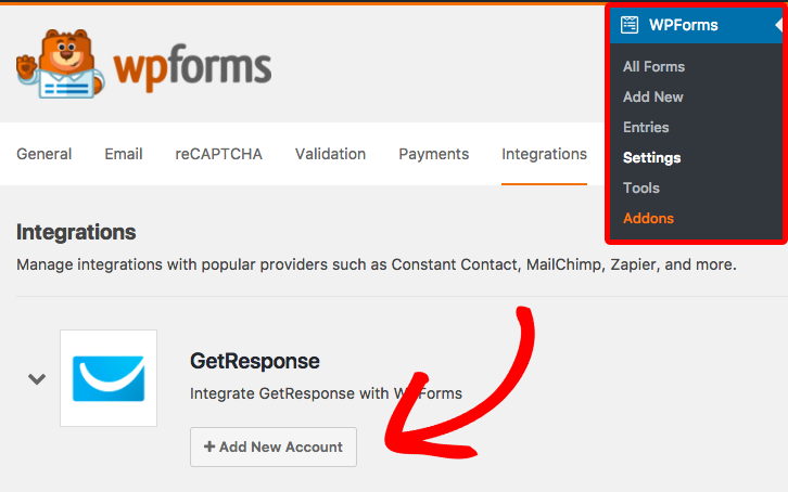 Add new account to GetResponse for WPForms