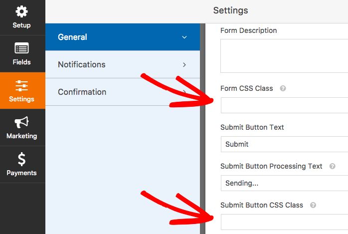 CSS class fields for form and submit button