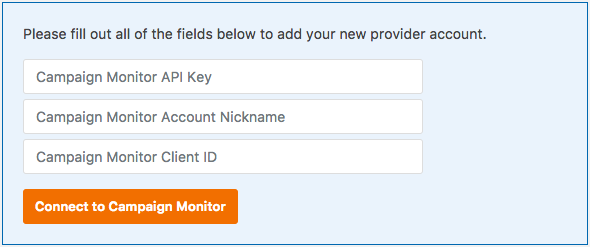 Campaign Monitor account details to connect to WPForms