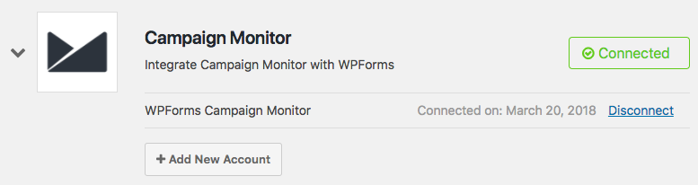 Campaign Monitor account is successfully connected to WPForms