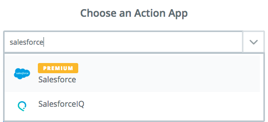 Choose Salesforce as Zapier action app