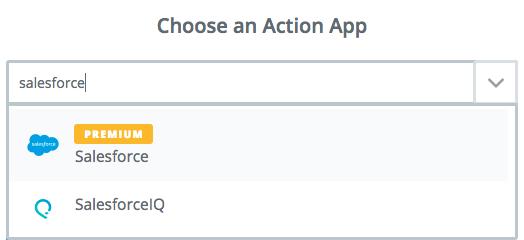 Choose Salesforce as Zapier action app