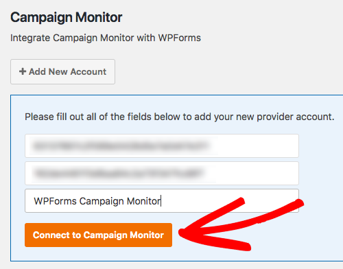 Connect WPForms to Campaign Monitor account
