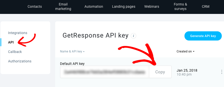 Copy GetResponse API key