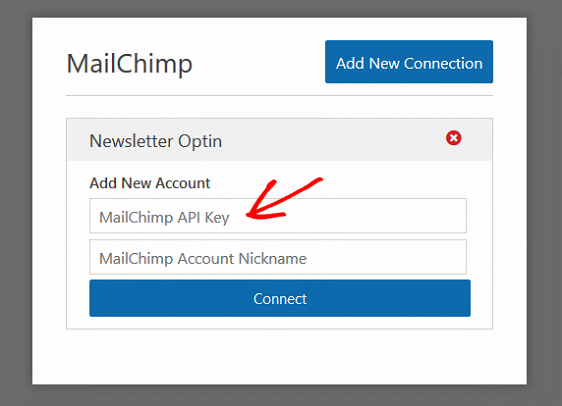 Create MailChimp Custom Fields - MailChimp Addon Settings, API Key