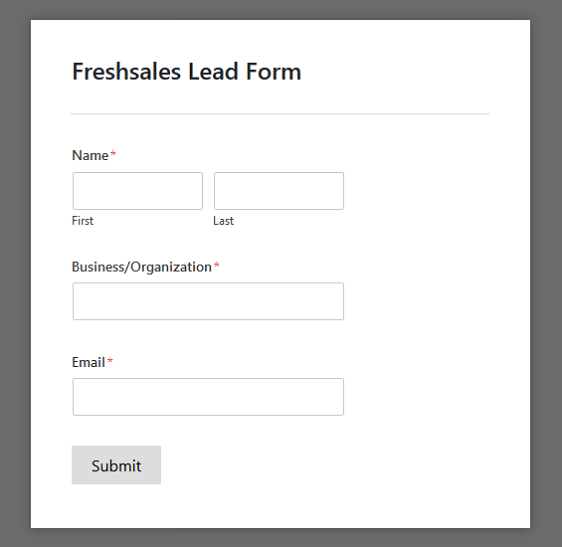 Create a Freshsales Lead Form - Create a New Form
