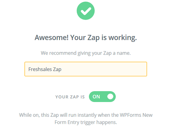 Create a Freshsales Lead Form - Name Zap
