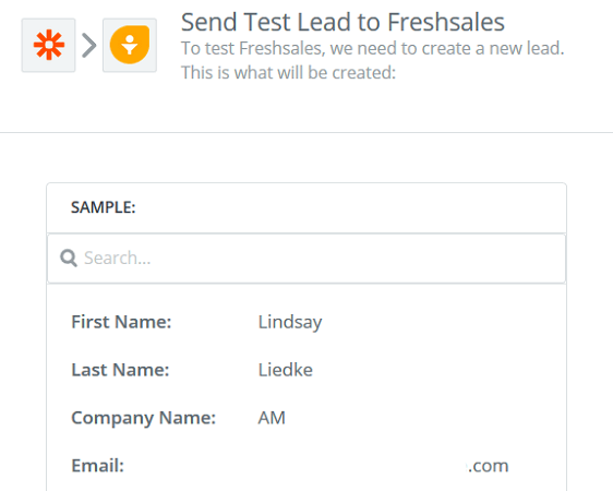 Create a Freshsales Lead Form - Test Lead