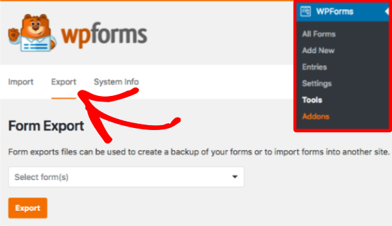 Export a form within WPForms