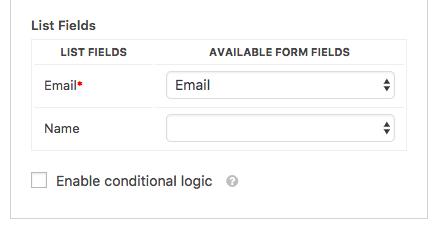 Map list fields to form fields