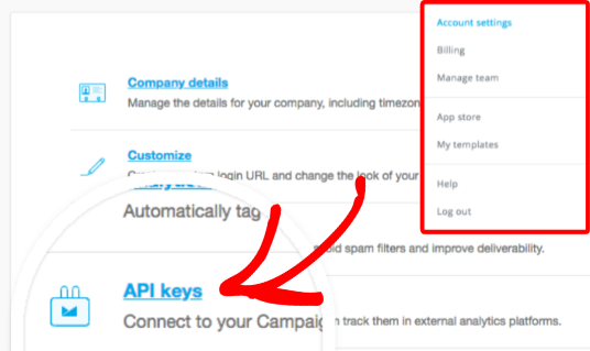 Open API keys page in Campaign Monitor account