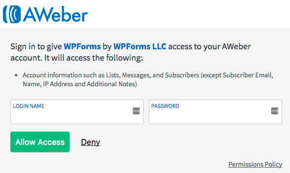 Provide access to AWeber for WPForms