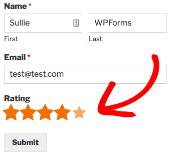 Ratings field example for WPForms