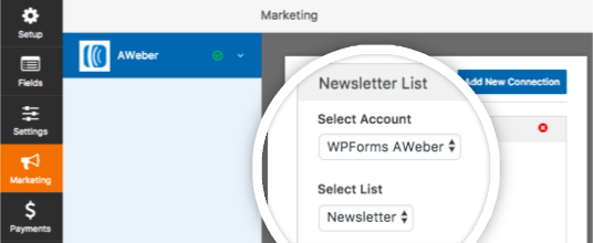 Select AWeber account and list in form builder