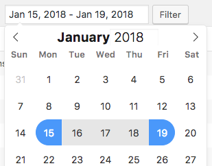 Select a date range filter for WPForms entries