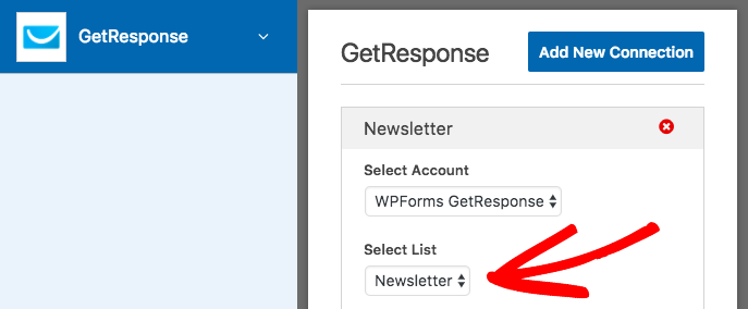 Select account and list for GetResponse connection