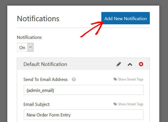 WPForms Order Form Email Receipt - Add Notification